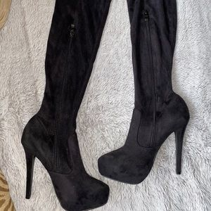 Black suede over the knee boots (size 7)